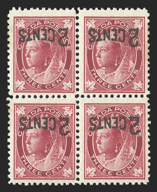 87 var., 88 var., 1899 2 Cents surcharges on both 3c Types, inverted surcharges, mint blocks of four of each, o.g., n.h., fine-very fine there is some disagreement over whether these inverted surcharges are genuine errors, deliberately made o