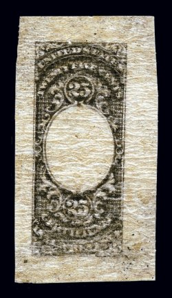 shreves philatelic galleries inc page  turner essay 6 aa 25c certificate unfinished die essay out vignette black on onion skin paper approximately 30x57mm trivial pinhole at top