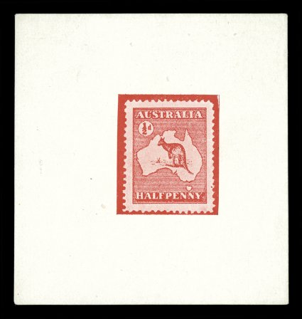 shreves philatelic galleries inc page   ke34 1912½p red kangaroo and map third essay only one value circle at top and tasmania included type 3a half tone photographic print on thin