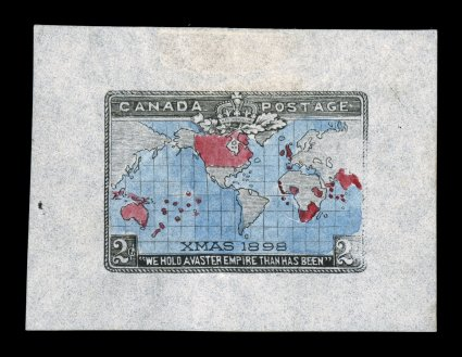 1898 2c Imperial Penny Postage, die essay of the black portion with hand-colored colors for the carmine and blue, on thin bond paper measuring 51x37mm, this is a true essay and not just a hand-colored die proof, the black is similar to the issued