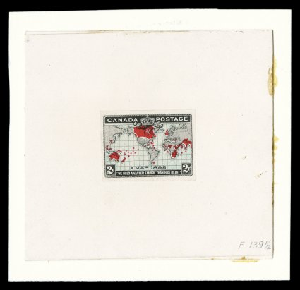 1898 2c Black, blue and carmine Imperial Penny Postage, hybrid large die proof, a similar hybrid die proof as the previous, this using a proof with the blue colored oceans, having large even margins, pressed onto original card measuring 91x83mm,