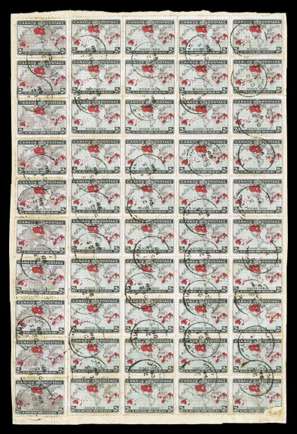 1898 2c Black, blue and carmine Imperial Penny Postage, large piece of parcel wrapper with a total of 50 stamps consisting of a block of 40 from plate 1, positions 2-592-95 and two vertical strips of five, all tied by OttawaDE 25 98 c.d.s. be