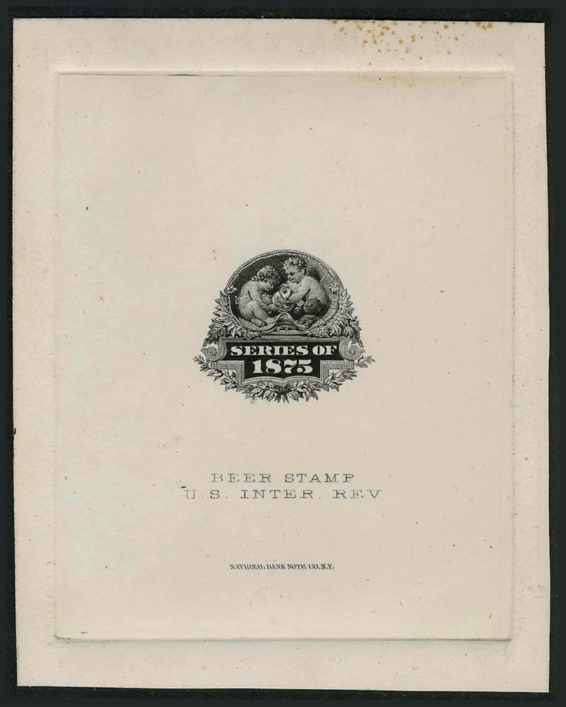 robert a siegel auction galleries inc page  67 x 82mm die sunk on card two line inscription beer stamp u s inter rev and national bank note co imprint a few stained specks at top